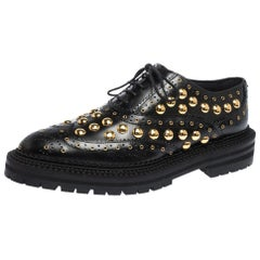 Burberry Black Leather Deardown Studded Platform Oxfords Size 38