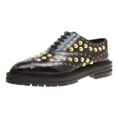 Burberry Black Leather Deardown Studded Platform Oxfords Size 40