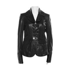 Burberry Black Leather Double Button Panel Peplum Moto Jacket M