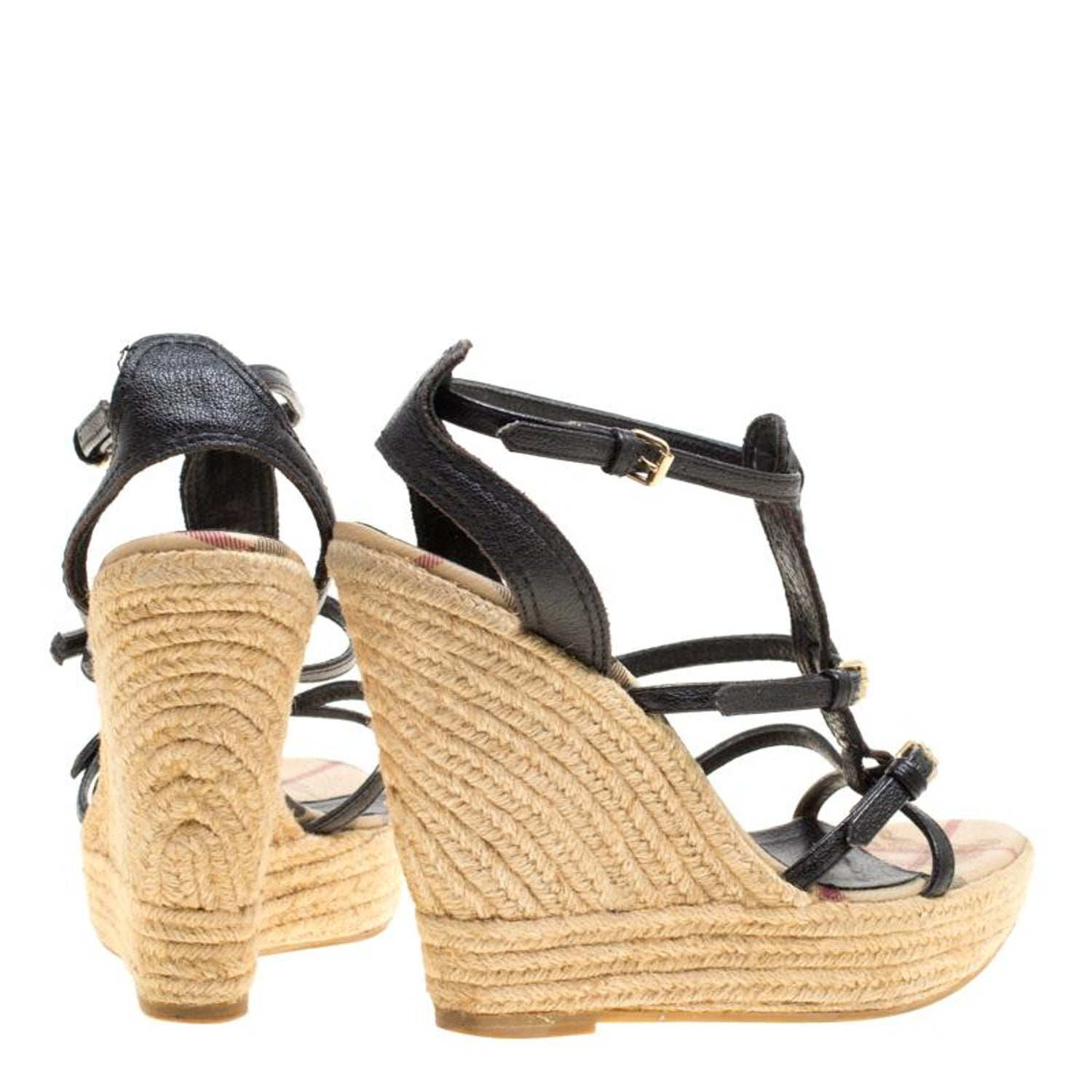 deb12d63d84 Burberry Black Leather Espadrille Wedge Sandals Size 39 For Sale at 1stdibs