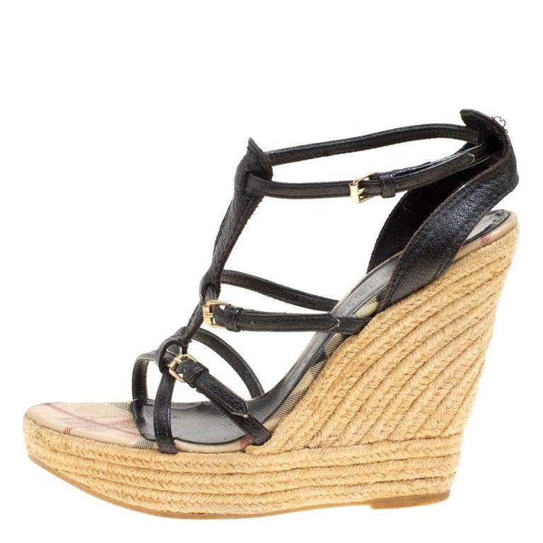 f73e3e6d2c7 Women s Burberry Black Leather Espadrille Wedge Sandals Size 39 For Sale