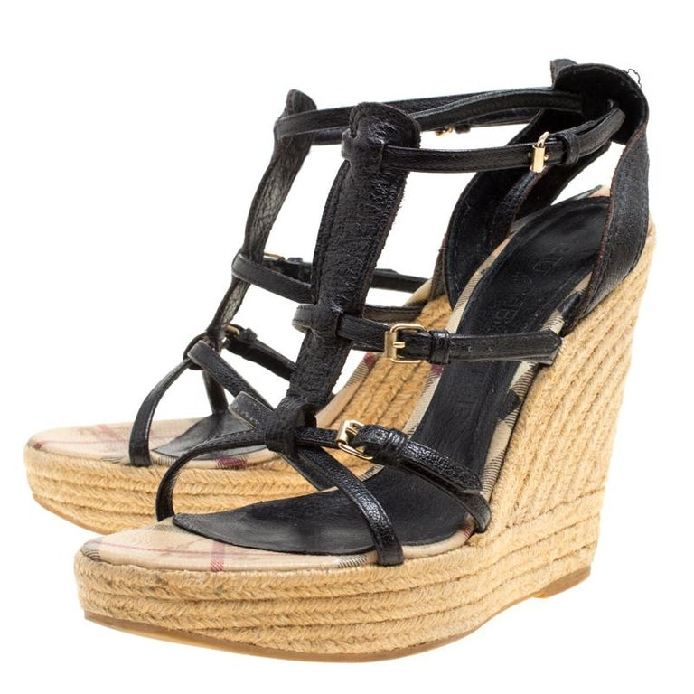 4ef33f20084 Burberry Black Leather Espadrille Wedge Sandals Size 39 For Sale at ...