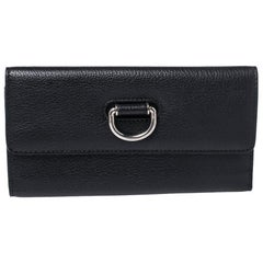 Burberry Black Leather Highbury Continental Wallet