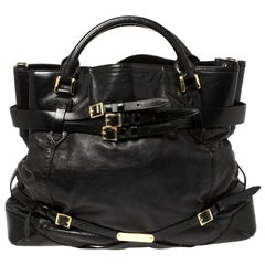 Burberry Black Leather Large Bridle Lynher Tote