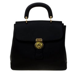 Burberry Black Leather Large DK88 Top Handle Bag
