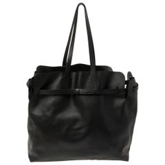 Burberry Black Leather Large Soft Belt Tote