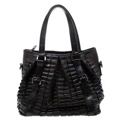 Burberry Black Leather Lowry Tote