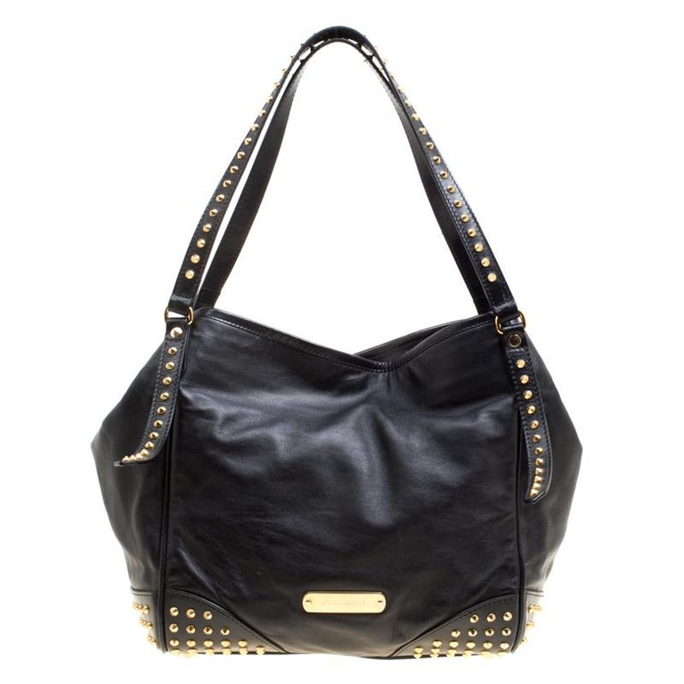 17c318c2b20 Burberry Black Leather Medium Canterbury Studded Tote For Sale at ...