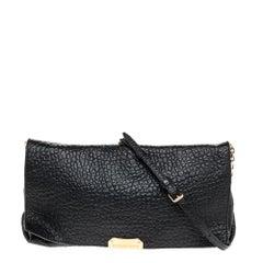 Burberry Black Leather Mildenhall Shoulder Bag