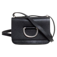Burberry Black Leather Mini D-Ring Crossbody Bag