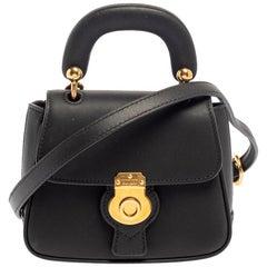 Burberry Black Leather Mini DK88 Top Handle Bag