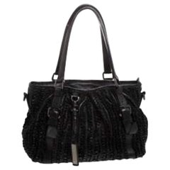Burberry Black Leather Ruffle Lowry Tote