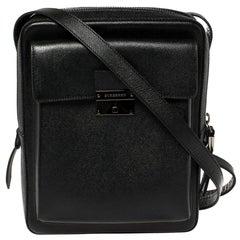 Burberry Black Leather Small Shaldon Messenger Bag