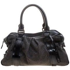 Burberry Black Leather Studded Ashbury Knight Satchel