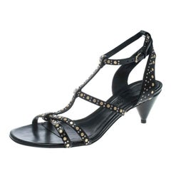 Burberry Black Leather Studded Hansel Cone Heel T Strap Sandals Size 37