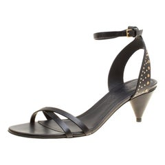 Burberry Black Leather Studded Hansel Cone Heel T Strap Sandals Size 38
