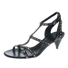 Burberry Black Leather Studded Hansel Cone Heel T Strap Sandals Size 38.5