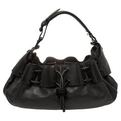 Burberry Black Leather Warrior Hobo