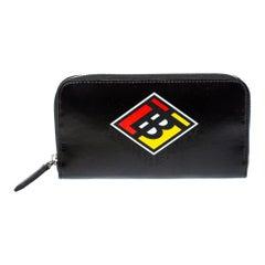 Burberry Black Logo Zip Around Wallet