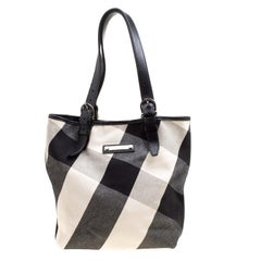 Burberry Black Mega Check Canvas and Leather Tote