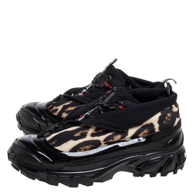 Men's Burberry Black Mesh And Leopard Print Satin Arthur Low Top Sneakers Size 42
