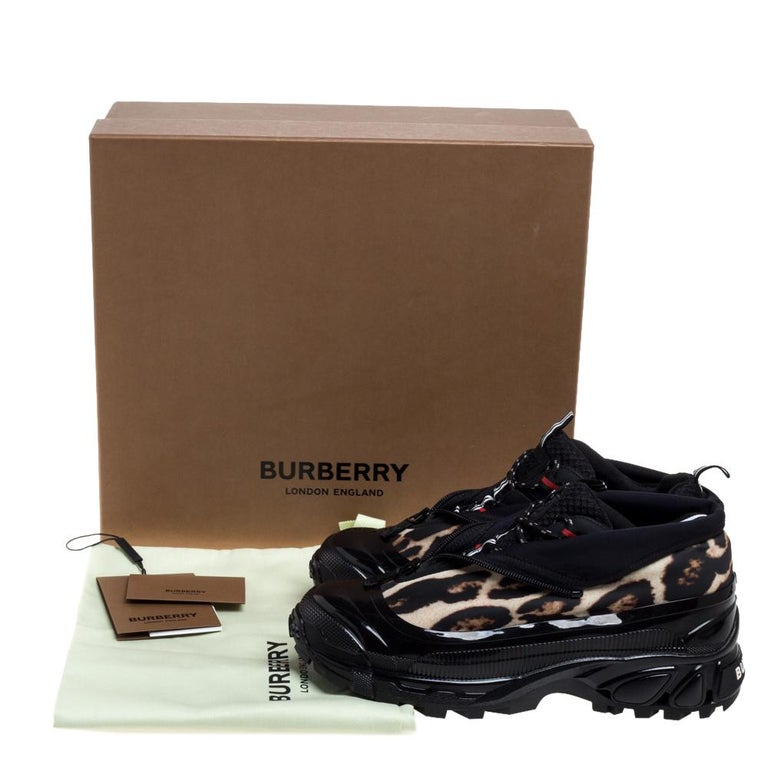 Burberry Black Mesh And Leopard Print Satin Arthur Low Top Sneakers Size 42 2