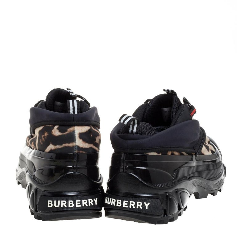 Burberry Black Mesh And Leopard Print Satin Arthur Low Top Sneakers Size 42 4