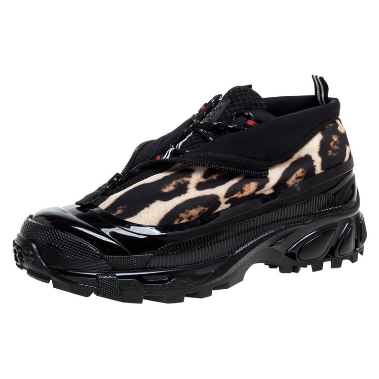 Burberry Black Mesh And Leopard Print Satin Arthur Low Top Sneakers Size 42