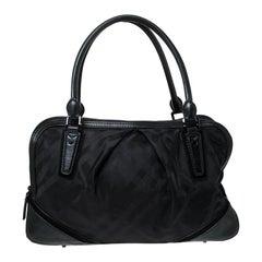Burberry Black Nova Check Nylon and Leather Double Zip Satchel