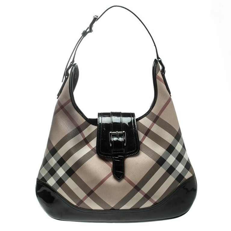 41dec18b3f97 Burberry Black Nova Check PVC Brooke Hobo at 1stdibs