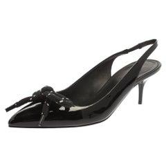 Burberry Black Patent Leather Fink Slingback Sandals Size 37.5