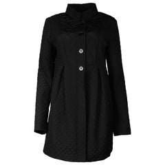 Burberry Black Quilted High Waist Coat Sz 12