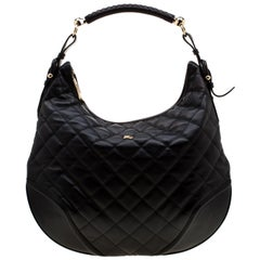 Burberry Black Quilted Leather Hoxton Hobo