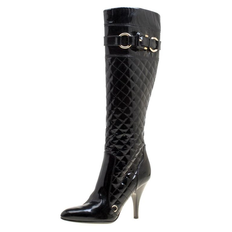 a971bccc29 Burberry Black Quilted Patent Leather Knee High Boots Size 38 For Sale
