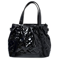 Burberry Black Quilted Patent Leather Studded Lowry Tote