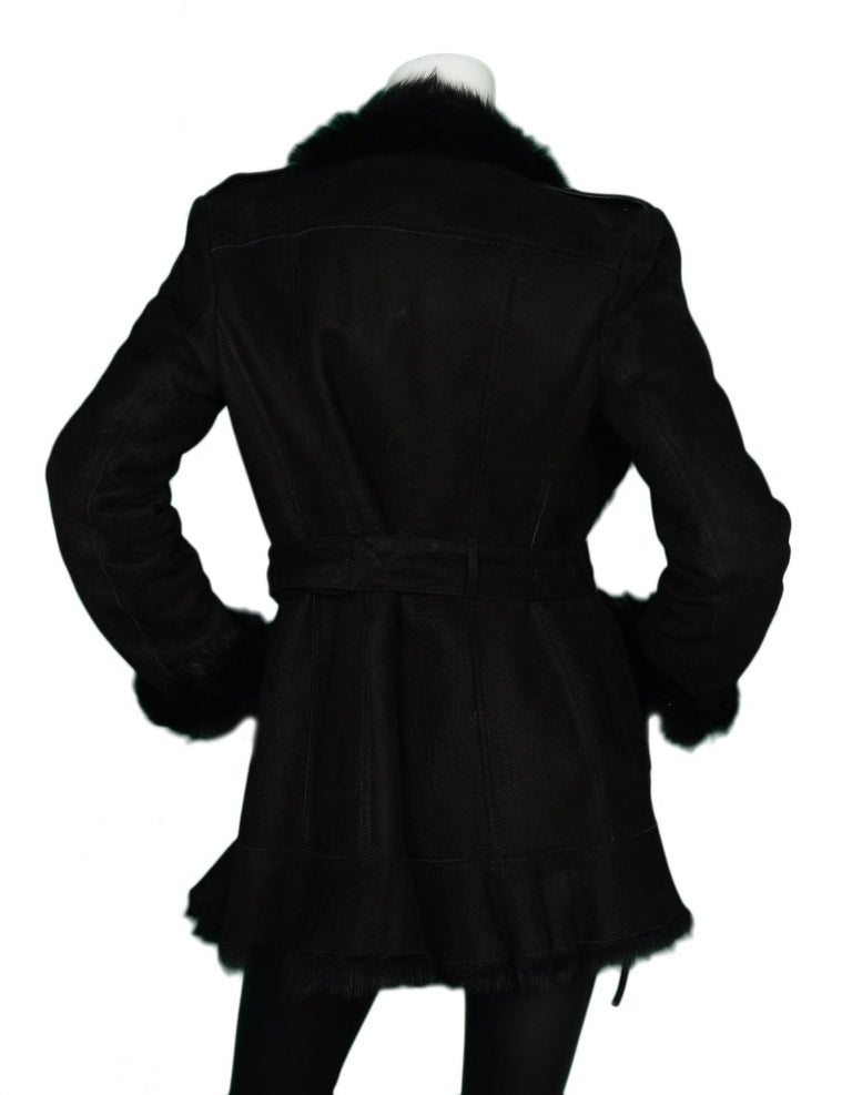 Burberry Black Shearling Belted Coat W/ Fur Trim Sz 4 In Excellent Condition For Sale In New York, NY