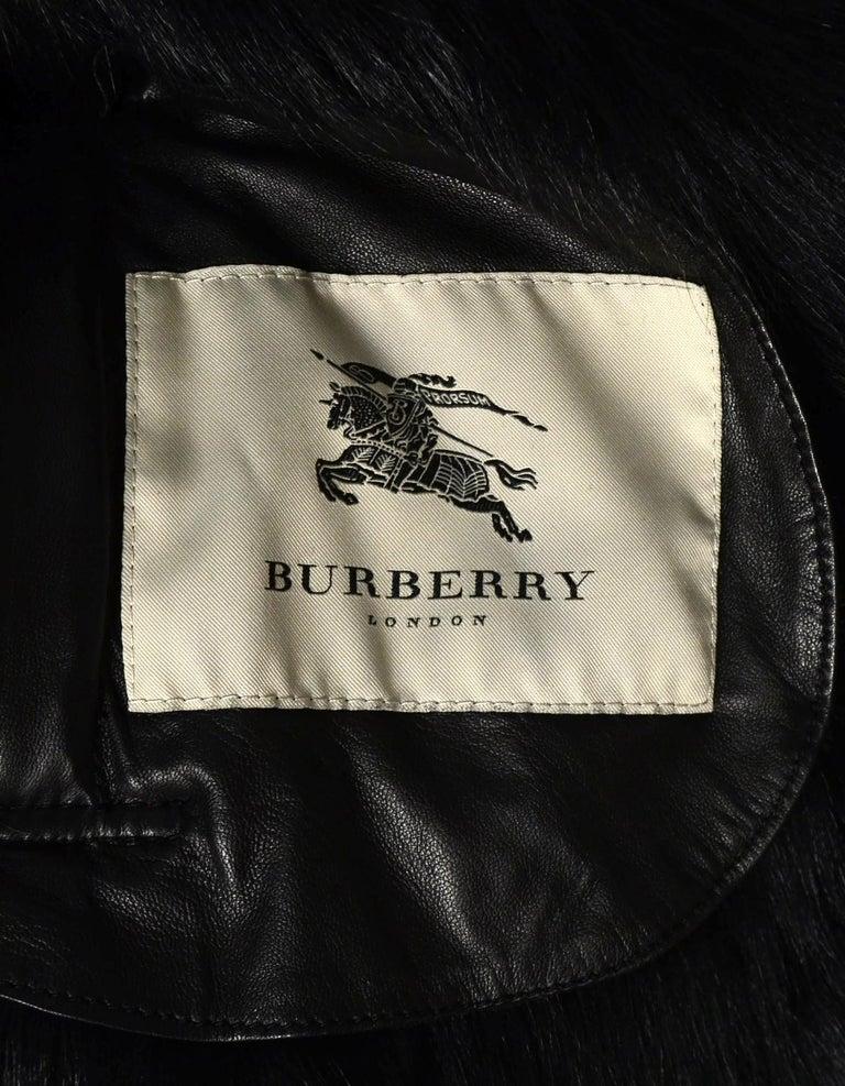 Women's Burberry Black Shearling Belted Coat W/ Fur Trim Sz 4 For Sale