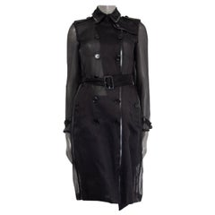BURBERRY black silk ORGANZA TRENCH Coat Jacket 4 XXS