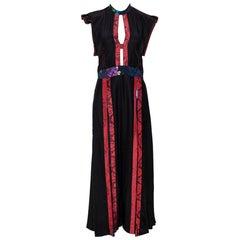 Burberry Black Silk Paneled Open Back Midi Dress M