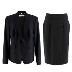Burberry Black Single-Breasted Wool Skirt Suit XL 18