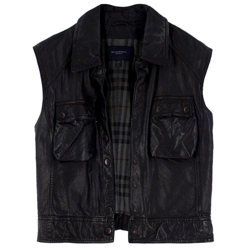 Burberry black sleeveless leather Gilet US 8