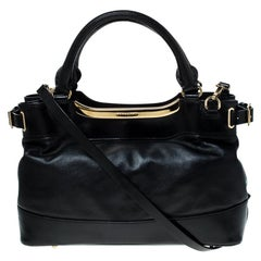 Burberry Black Soft Leather Bridle Small Hepburn Tote