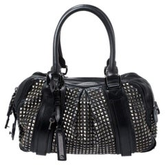 Burberry Black Studded Leather Knight Satchel