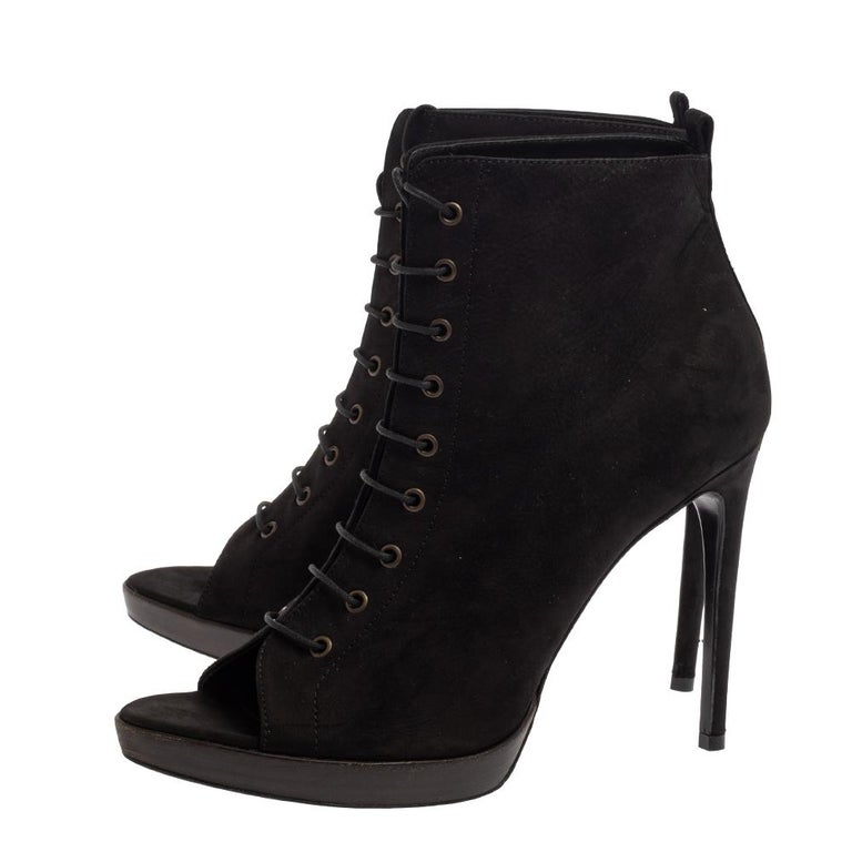 Burberry Black Suede Lace Up Peep Toe Ankle Booties Size 40 For Sale 1
