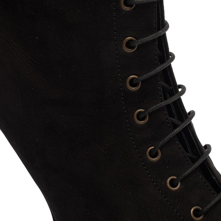 Burberry Black Suede Lace Up Peep Toe Ankle Booties Size 40 For Sale 2