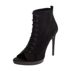 Burberry Black Suede Lace Up Peep Toe Ankle Booties Size 40