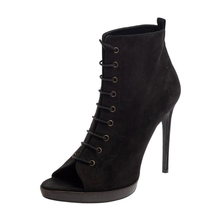 Burberry Black Suede Lace Up Peep Toe Ankle Booties Size 40 For Sale