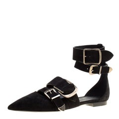 Burberry Black Suede Monroe Ankle Cuff Pointed Toe Flats Size 38