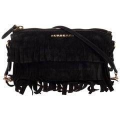Burberry Black Suede Peyton Fringe Crossbody Bag