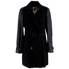 Burberry Black Trench Coat with Leather Detail US14